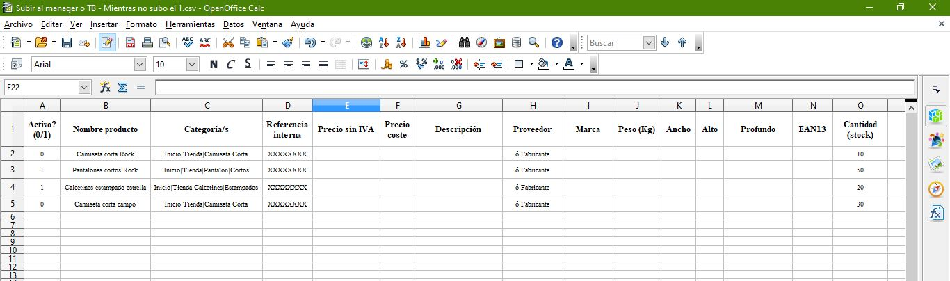 Subir CSV de productos al Store Manager