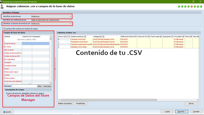 Importar CSV de productos al Store Manager